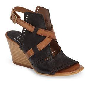 Miz Mooz Kipling Black and Tan Leather Sandals